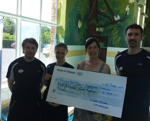 Club Vitae 24 hour Swimathon in aid of Voices for Down Syndrome Galway raised €5,700 in 2014.